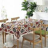XDLUK Tischdecke Baumwolle Leinen Rechteckiges Modern Simple Tischtuch Abwaschbar Tischwäsche mit Blumen Muster,90x140cm