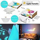 nanoleaf Aurora & Rhythm Starter Kit LED RGBW Farbwechsel-Panel und Sound-Modul 12er Set | App-Steuerung | 16 Millionen Farben | Kompatibel mit amazon Alexa/Echo, Apple HomeKit & Android | Moderne LED-Wandleuchte