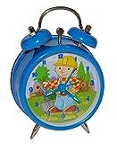 Kinderwecker-Bob-der-Baumeister-Kinder-blau-Wecker-Bauarbeiter-Metallwecker-Metall-Jungen-Alarm-Analog