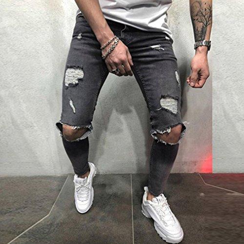 Paolian Jeans Pantalons de Trou de la Mode pour Hommes, Jeans de Conception Confortable de Conception Unique, Les Hommes à la Mode doivent
