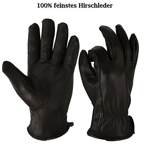 Premium Hirschkeder Handschuhe schwarz (XL = 11) (Hirschleder Gummizug)