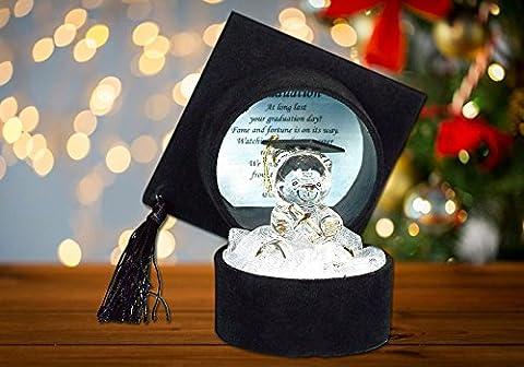 Graduation Teddy Bear Crystal Glass Gift & Poem Box with & Poem of Congratulations in Mortar Board Cap Box