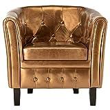 Tidyard Sillón reclinable butaca Sillon Relax Sillón con diseño de Cubo de Cuero sintético, marrón 64 x 67 x 70 cm