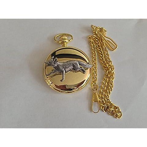 Fox oro lucido, formato A3, da corsa, da uomo Confezione regalo orologio fob made in sheffield