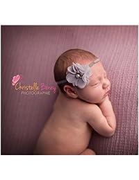 Bandeau cheveux bébé/fille, modèle Fleur du Nil gris