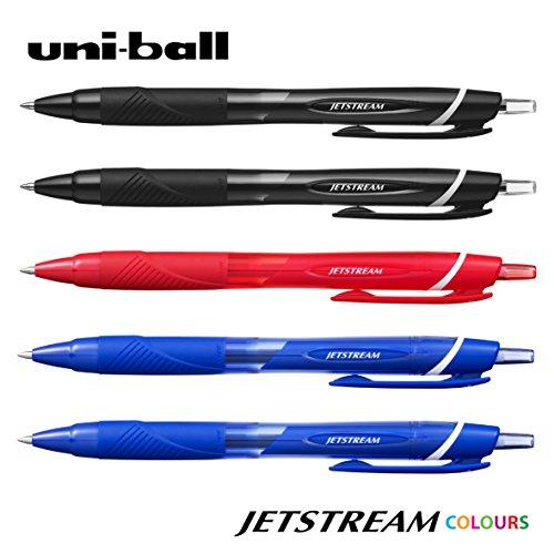 Uni-Ball-JETSTREAM SXN-150-0.7mm penna a sfera retrattile [5confezione = 2x nero, 2x blu, 1x rosso]