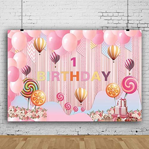 1.Geburtstag Fotohintergrund Kleine Rosa Vorhang Ballons Lutscher Chevron Muster Fotoleinwand Hintergrund für Fotoshoot Fotostudio Requisiten Party Baby Photo Booth ()