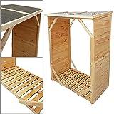 proheim Kaminholzregal XXL 162 x 128 x 72 cm ohne Rückwand Brennholz-Regal mit 1,15m³ Volumen Kaminholz-Unterstand Bitumen beschichtetes Dach und 100% FSC Holz, Farbe:Natur