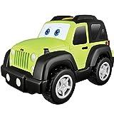 Bb Junior Jeep Funny Friends: Spielzeugauto Jeep Wrangler mit Motorengeräuschen, fährt auf Knopfdruck Los und wackelt mit Den Augen, grün (16-81531)