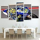 QJXX 5 Panels Racing Motorrad auf der Spur Giclee Painting Leinwanddrucke Dekoration Büro Wand Artwork,A,20 * 35cm+20 * 45cm+20 * 55cm