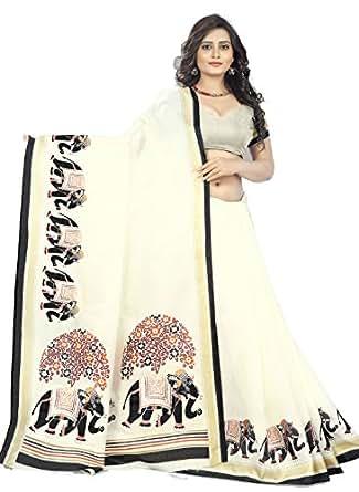 Jaanvi Fashion Khadi Silk Elephant Motifs Kalamkari Printed Saree