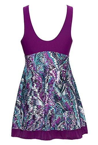 Summer Mae Damen Badekleid Geblümt Spa Badeanzug Strandkleid Baden Swimwear Violett