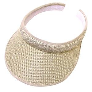 DWQuee Damen-Golfvisier, verstellbare Sommer-UV-Schutz-Strandkappe mit großem Krempen und Sport-Plain-Hut für das Golf…