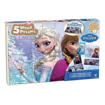 Disney Frozen 5-Wood Puzzles in Tray de Disney Frozen