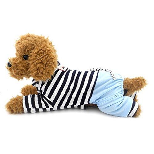 ranphy Kleiner Hund/Katze Overall mit Denim Hose Hund Outfits Katze Kleidung Sommer Pet Stripe Shirts (Denim Pudel Black Shirt)