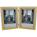 """Double Natural Wood Design 5"""" x 7"""" Photo Frame Gift New Boxed"""