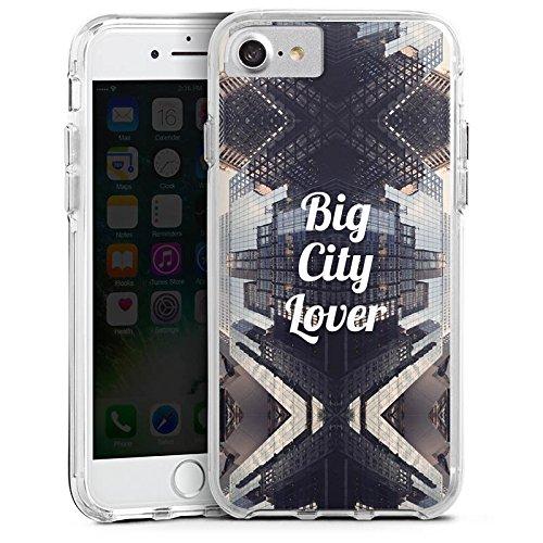 Apple iPhone X Bumper Hülle Bumper Case Glitzer Hülle City Hochhaus Statement Bumper Case transparent