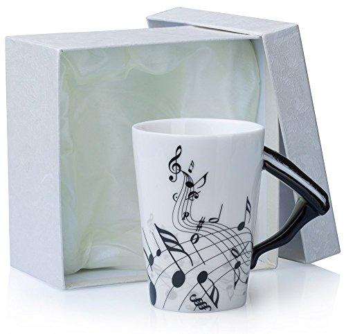 Grinscard Keramiktasse mit Motiv Henkel - Weiß & Bedruckt Klavier Design 0,2l - Tee & Kaffee Tasse zum Verschenken