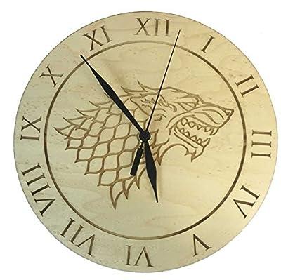 Game of Thrones Inspired House Stark Maple Clock