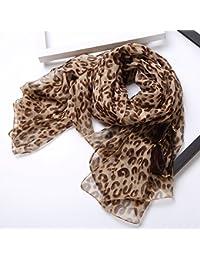 Upper-Wild Damas de verano largo chiffon Leopard pañuelo de seda para mantener caliente bufanda grande,un leopardo luz,250*150
