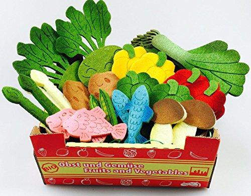 Elfenstall Kaufladen Zubehör Set | Gemüse & Fisch Stiege | Lebensmittel aus Filz | Gefüllt mit Fisch Kartoffeln Erbsen & Mehr | Spiel-Küche Tante Emma Laden Einkaufsladen | Geschenk Kinder