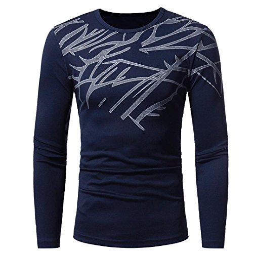 FORH Herren Herbst Winter Mode langarmshirt Klassische Drucken T-Shirt Blusen Super soft Lange Ärmel Sweatshirt Casual Rundhals Pullover Tops Slim fit tops (L, Marine)