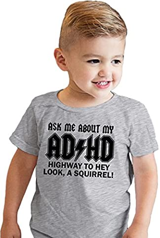 Crazy Dog TShirts - Toddler Ask Me About My ADHD Tshirt Funny Sarcastic Squirrel Flip Up Tee (grey) 2T -
