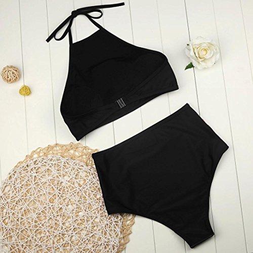 FORH Damen Retro Blumen Drucken Bademode Sexy Neckholder Push-Up Bra Beach Bikini Set Hoher Taille Split Badeanzug Swimwear Shorts tops mit Bikini Höschen zweiteilig Schwimmanzug (Schwarz, S) - 5