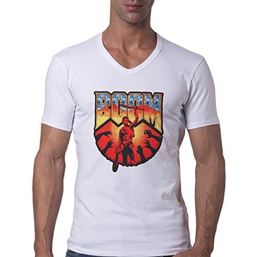 Army Of Darkness Boom Logo Standing Ahead Herren V-Neck T-Shirt Weiß