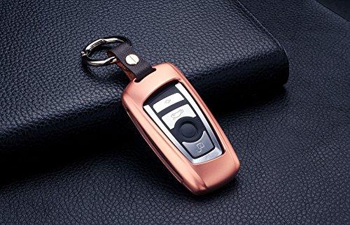 [m. jvisun] Auto Fernbedienung Keyless Entry Key Cover Fall FOB Skin passt für BMW 1Serie 2(Teil Modelle) 3/GT 456Serie X3X4M2M3M4M5M6, Premium Aircraft Aluminium Metall Schutzhülle Echt Leder mit Schlüssel Kette (Modell Chevy-kits)