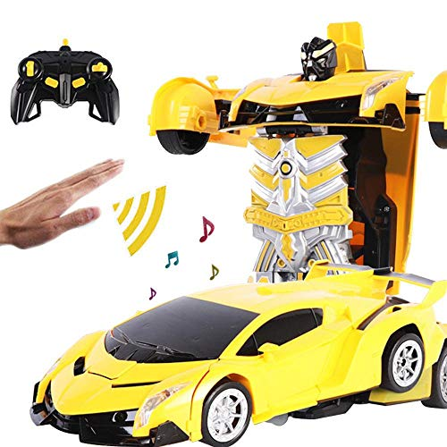 RC Transformer Car Robot, 1:18 Gesture Sensing Deformation Car 360° Rotating Remote Control Cars Robot with LED Lights & Music, One-Button Deformation RC Car Toys for Kids Gift