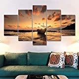 HXZFF Bilder auf Leinwand 5-teilig Moderne Wanddekoration Für Wohnzimmer high-Definition Inkjet Modulare Drucke Poster Wandkunst malerei rahmenlose Schlafzimmer 150x80 cm Sonnenuntergang, Boot