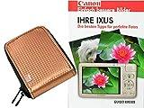 Progallio Sparset - Foto-Tasche Kameratasche RETRO CASE bronze im Set mit Fotobuch IHRE IXUS für Canon Ixus 132 135 145 150 155 255 265 S110