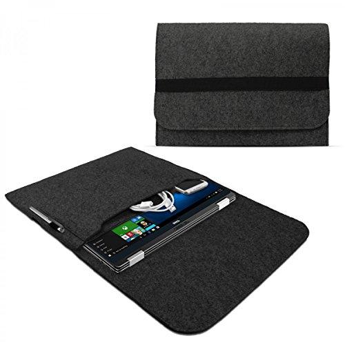 eFabrik Case für Dell XPS 13 Schutzhülle 13,3 Zoll (für XPS 13 2-in-1 System und XPS 13 Notebook) Ultrabook Laptop Case Tasche Soft Cover Schutztasche Zubehör Sleeve Filz dunkel grau