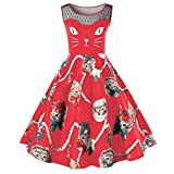 OVERDOSE Damen Cat Printing Ärmelloses Kleid Damen Vintage Swing Lace Dress Ostern Partei-Kleid Büro Kleid Frühling Kleid