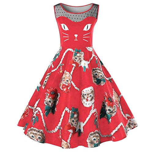 OVERDOSE Damen Cat Printing Ärmelloses Kleid Damen Vintage Swing Lace Dress Ostern Partei-Kleid Büro Kleid Frühling ()