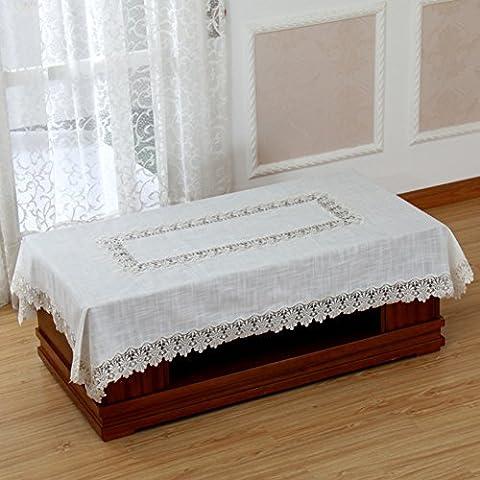 Europäische Stoff Tischdecke,Rechteckigen Wohnzimmer Tischdecke,Simple Mode Spitze Tabelle Tuch Abdecken-A 90x150cm(35x59inch)
