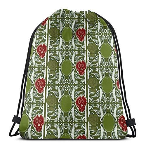 vintage cap Khaki Skulls_7762 3D Print Drawstring Backpack Rucksack Shoulder Bags Gym Bag for Adult 16.9'x14'