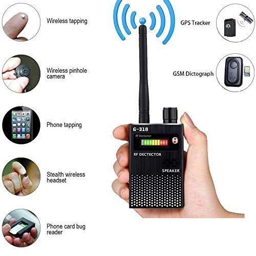 Detector de Señal Anti-Espía Detector de señal GPS Detector de Señal Espía Detector de Cámara Inalámbrica Detector de RF Buscador de Dispositivos gsm (Black)