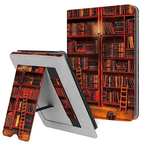 Fintie Hülle kompatibel für Kindle Paperwhite (10. Generation - 2018 / alle Generationen) - Kickstand Schutzhülle mit Kartenfach Handschlaufe & Auto Sleep/Wake Funktion, die Bibliothek