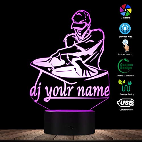 3D-Nachtlicht,Disco Dj Led Nachtlicht Kreative Tischlampe Dj Plattenspieler Personalisiert Custom Your Name Music Club Party Dekorative Beleuchtung, Touch-Steuerung