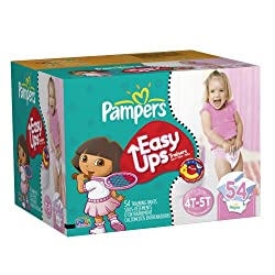 Pampers Easy Ups Girls Size 4T-5T Training Pants Big Pack 54 Count