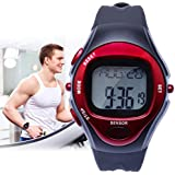 Auralum® Montre Cardiofréquencemètre Montre Gym - Surveille les battements cardiaques Sport Chronomètre (Rouge)