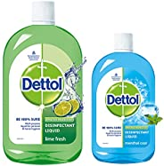 Dettol Liquid Disinfectant for Multi-Purpose Germ Protection, Menthol Cool, 500 ml & Dettol Liquid Disinfe