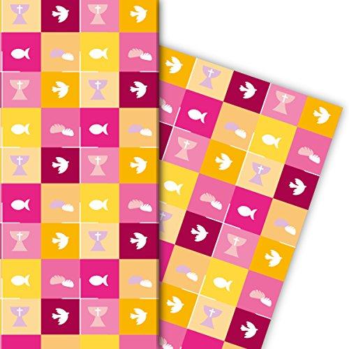 Schönes Geschenkpapier mit christlichen Symbolen für tolle Geschenk Verpackung und Überraschungen (4 Bögen, 32 x 48cm) Dekorpapier, Papier zum Einpacken