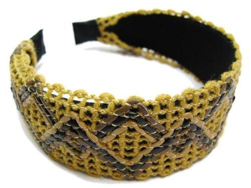 rougecaramel - accessoires cheveux - Serre tête/headband large tricoté - camel