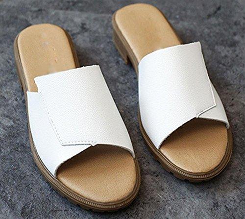 printemps Accueil et été épais avec des chaussures de plate-forme à talons plats glisser le mot sandales casual slip et les femmes pantoufles White
