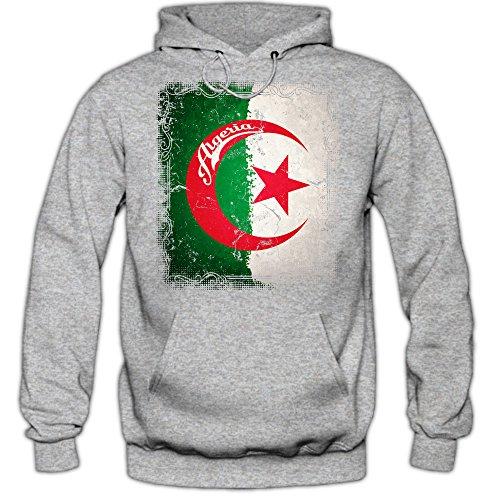 Shirt Happenz Algerien Flagge Premiumhoodie | Staat Algerien | Sichelmond und Stern | Grün und Weiß | Afrika | Herren-Kapuzenpullover Graumeliert