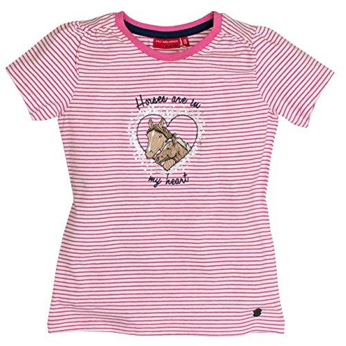 SALT AND PEPPER Mädchen T-Shirt Horses Stripes, Rosa (Candy 802), 104 (Herstellergröße: 104/110) (Pferd Shirt Rosa)