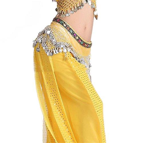Danse du ventre costume Hip écharpe Ceinture 2 Rangées Colorful Gem With 258 Coins white